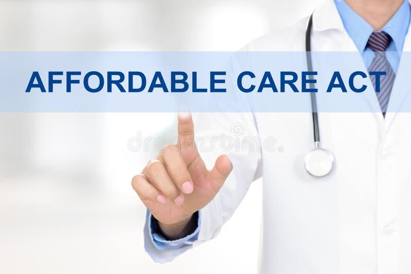Etiqueta ASEQUIBLE conmovedora del ACTO del doctor CUIDADO en la pantalla virtual foto de archivo libre de regalías