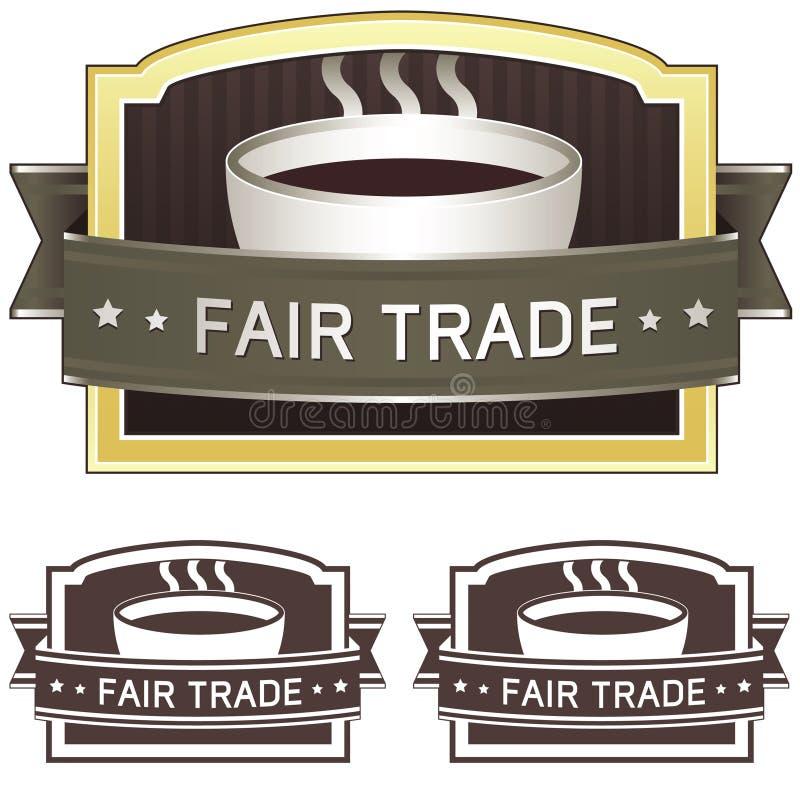 Etiqueta autoadhesiva del café del comercio justo libre illustration