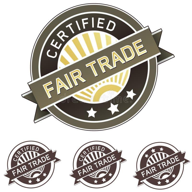Etiqueta autoadhesiva del producto del comercio justo ilustración del vector