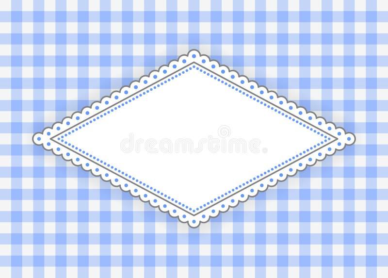 Etiqueta azul del Rhombus con el marco punteado ilustración del vector