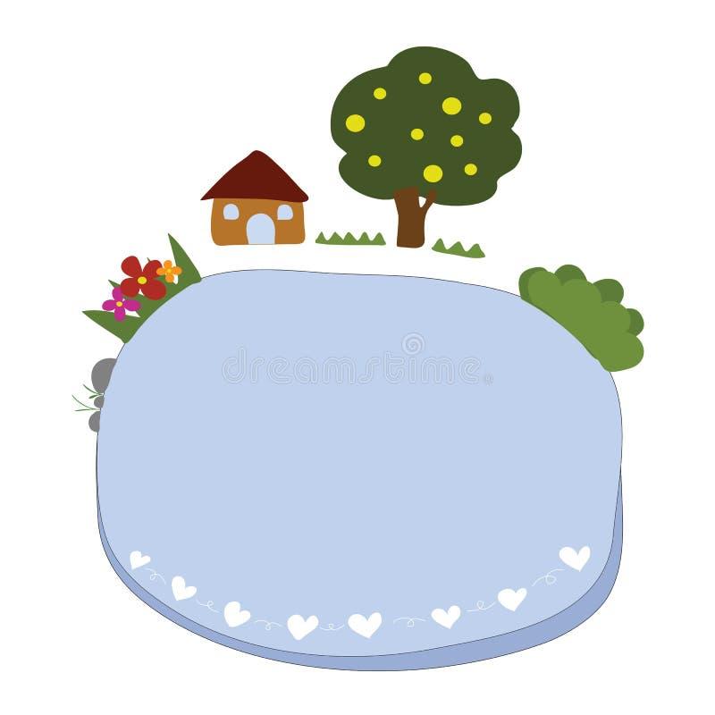 Etiqueta azul para o texto com a casa, a árvore, a grama e a flor decoradas ilustração royalty free