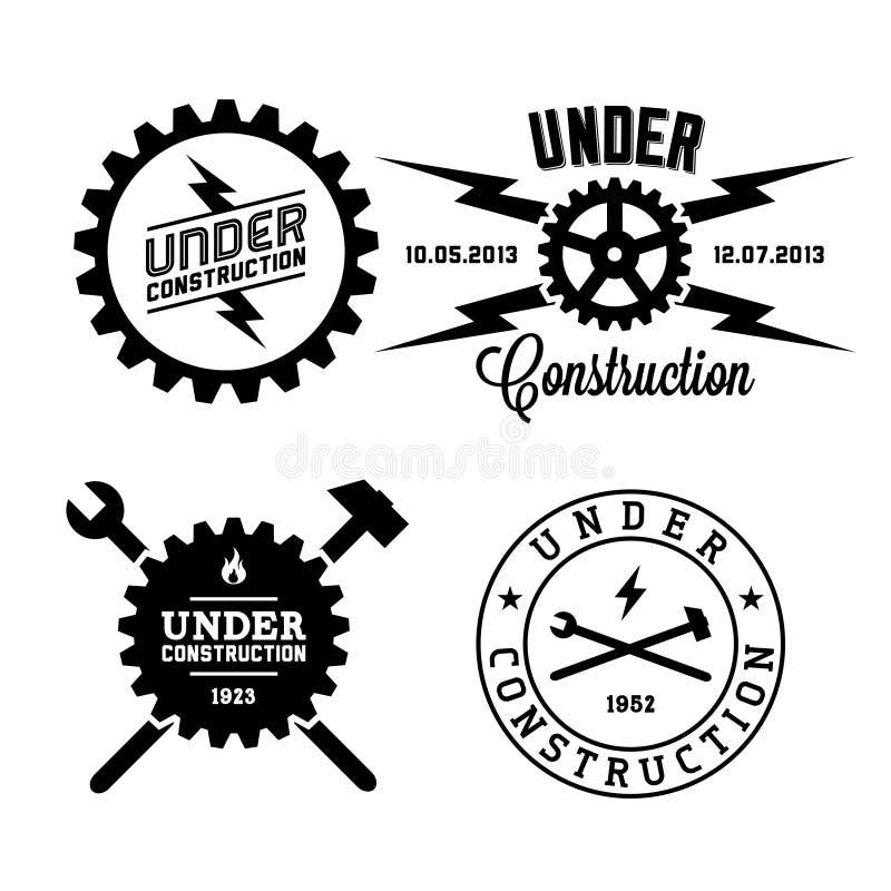 Etiqueta bajo construcción libre illustration