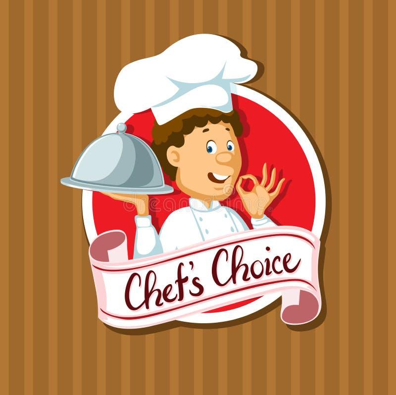 Etiqueta bem escolhida do cozinheiro chefe com projeto liso da bandeja de prata - vetor ilustração do vetor
