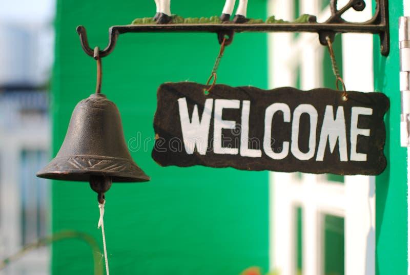 Etiqueta bem-vinda foto de stock