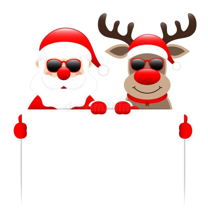 Etiqueta blanca de Santa Claus And Reindeer Sunglasses Holding ilustración del vector