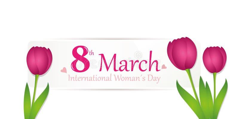 Etiqueta blanca del día de la mujer internacional el 8 de marzo con los tulipanes rosados ilustración del vector