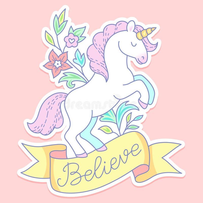 Etiqueta blanca del unicornio libre illustration
