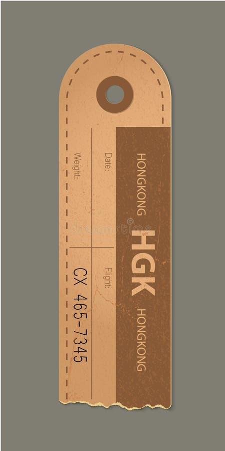 Etiqueta bonita da bagagem do vintage, etiqueta retro do país de Hong Kong do curso do vintage ilustração stock