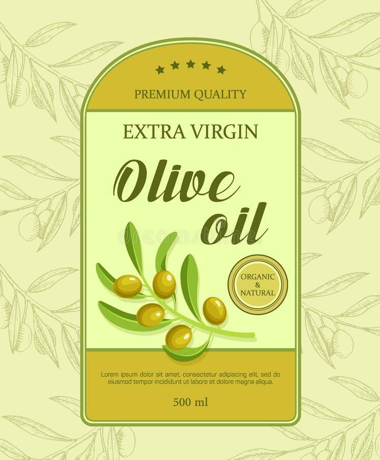 Etiqueta bonita para o óleo com ramo de oliveira verde Ilustração do vetor ilustração royalty free