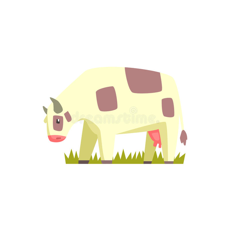 Etiqueta bonito de Chubby Cow Toy Farm Animal ilustração royalty free