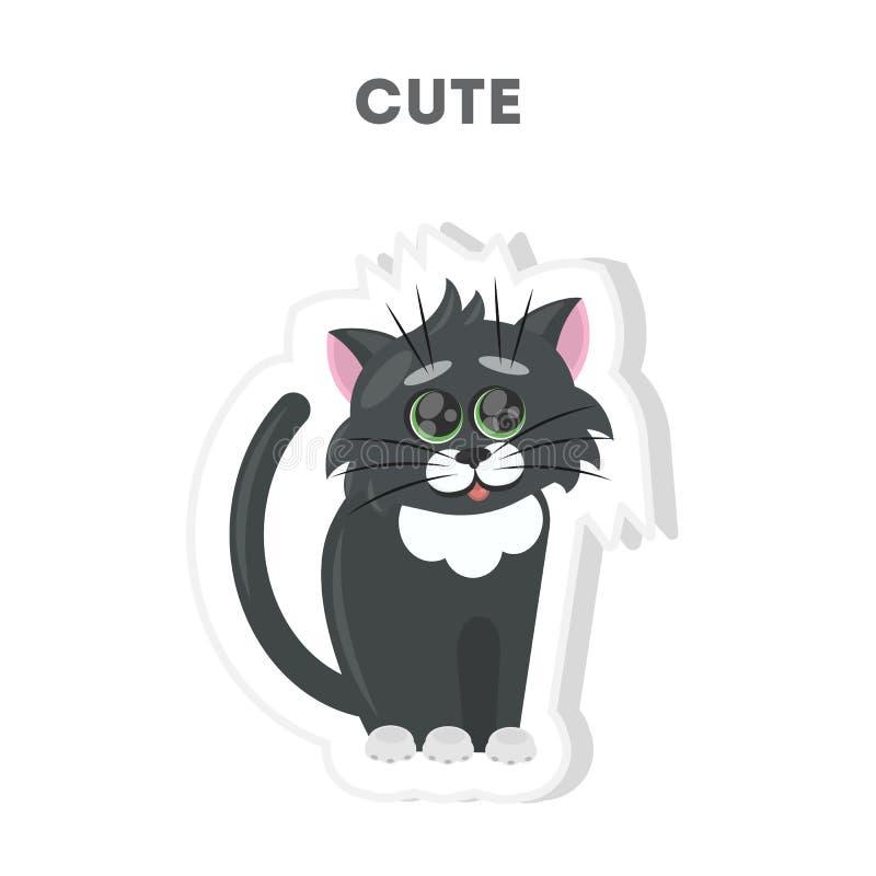 Etiqueta bonito do gato ilustração royalty free