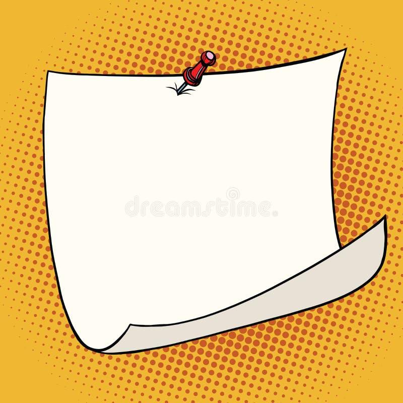 A etiqueta branca fixou a tecla vermelha com canto ondulado ilustração royalty free