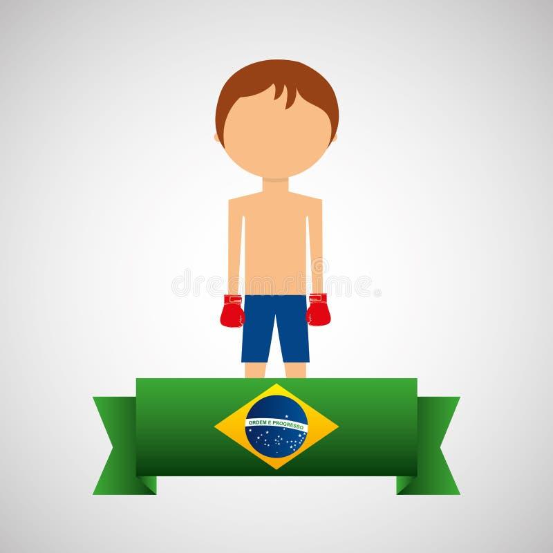 Etiqueta brasileña del jugador del boxeo de la historieta libre illustration