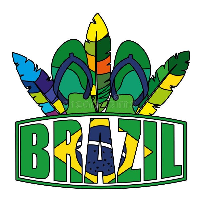 Etiqueta brasileira com bandeira e falhanços de aleta ilustração do vetor