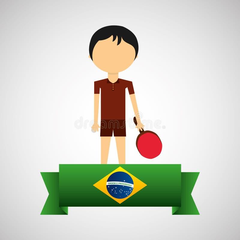 Etiqueta brasileira do jogador do tênis de mesa dos desenhos animados ilustração stock