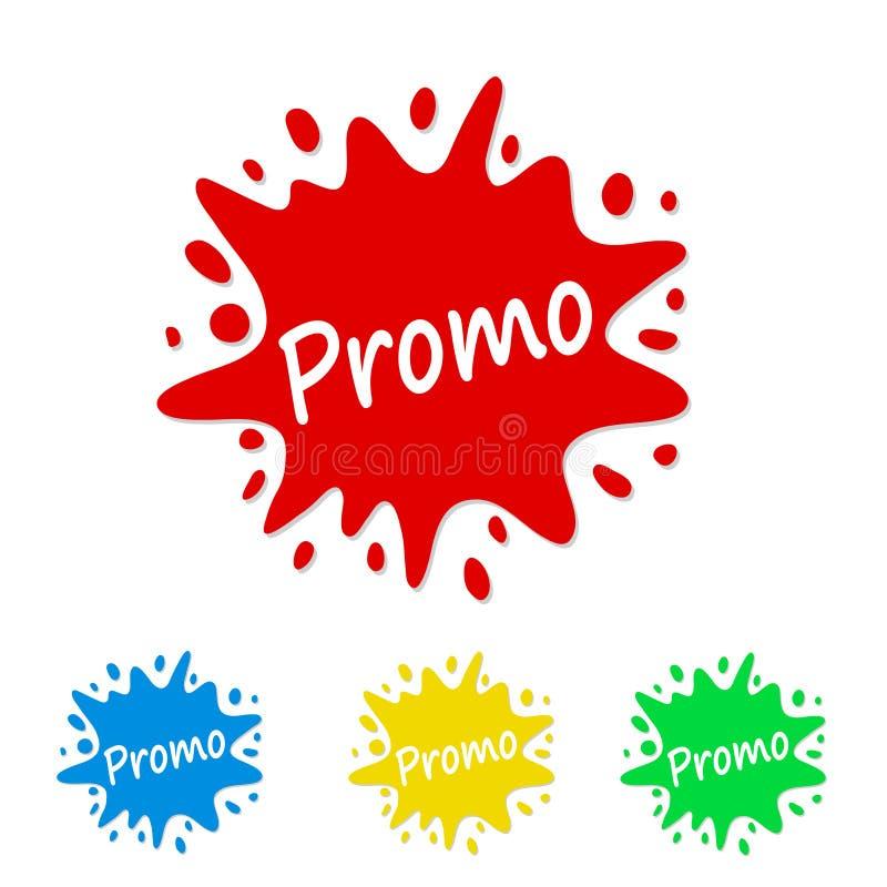 Etiqueta brillante del chapoteo de la pintura con el promo, ejemplo común del vector ilustración del vector