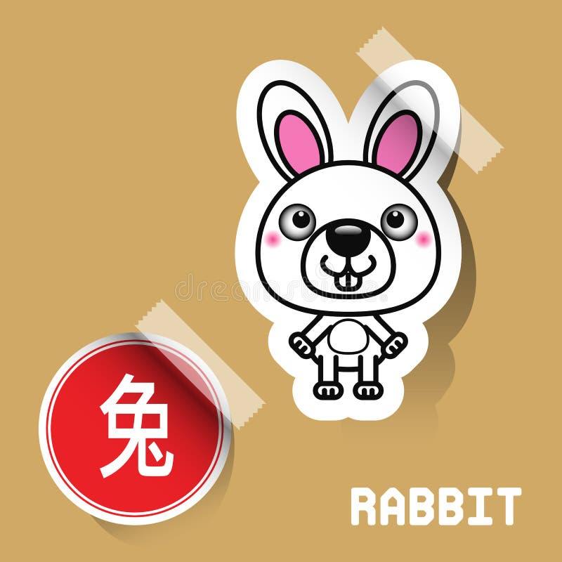 Etiqueta chinesa do coelho do sinal do zodíaco ilustração stock