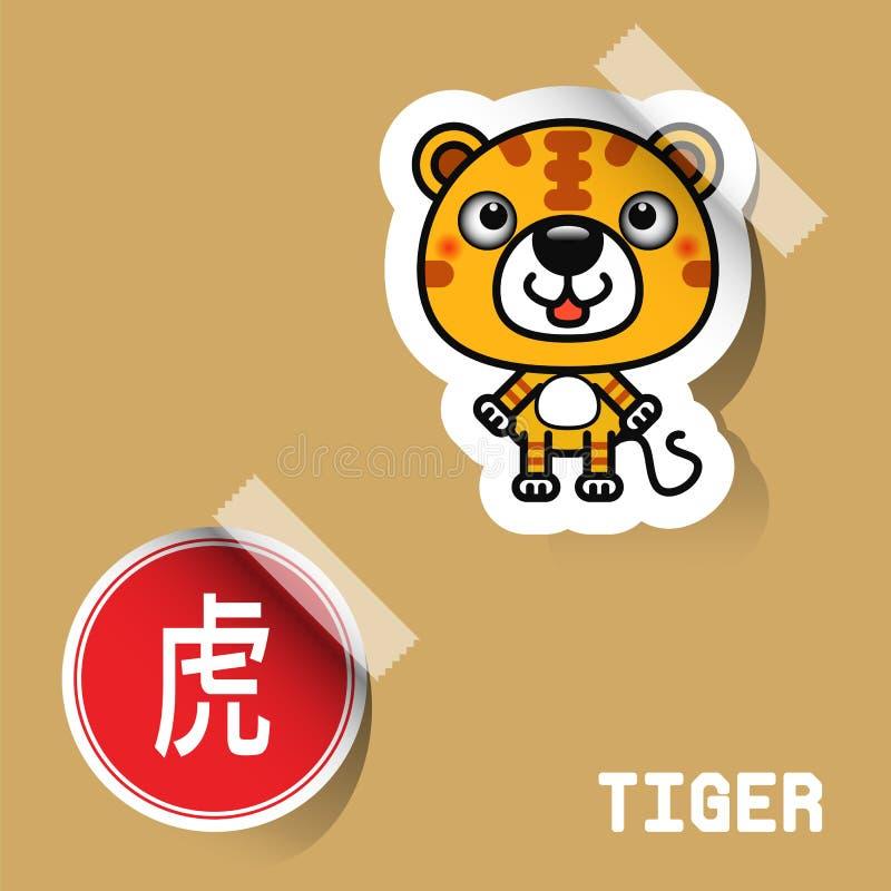 Etiqueta chinesa do tigre do sinal do zodíaco ilustração royalty free