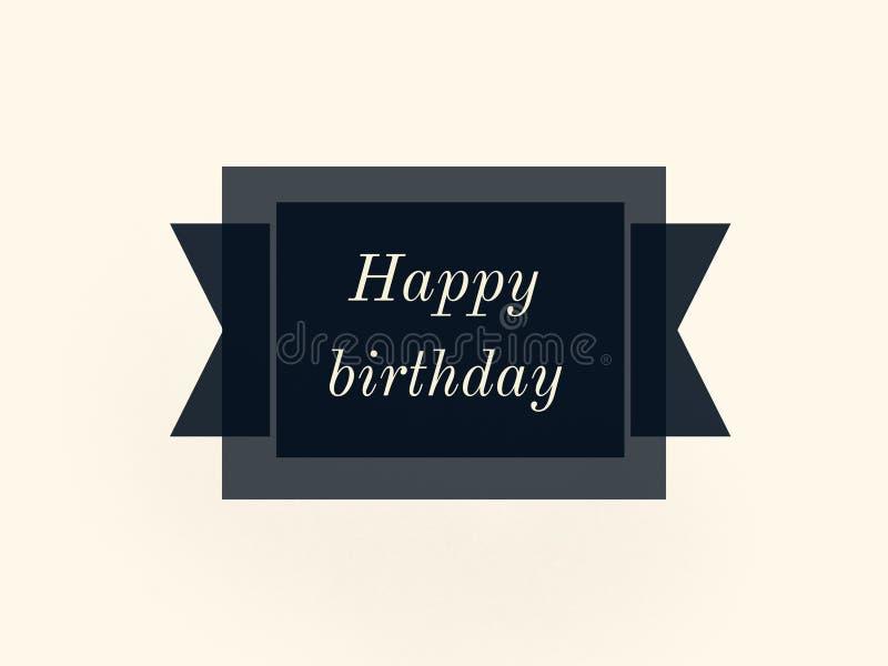 Etiqueta cinzenta escura do desejo do feliz aniversario em um fundo branco ilustração stock
