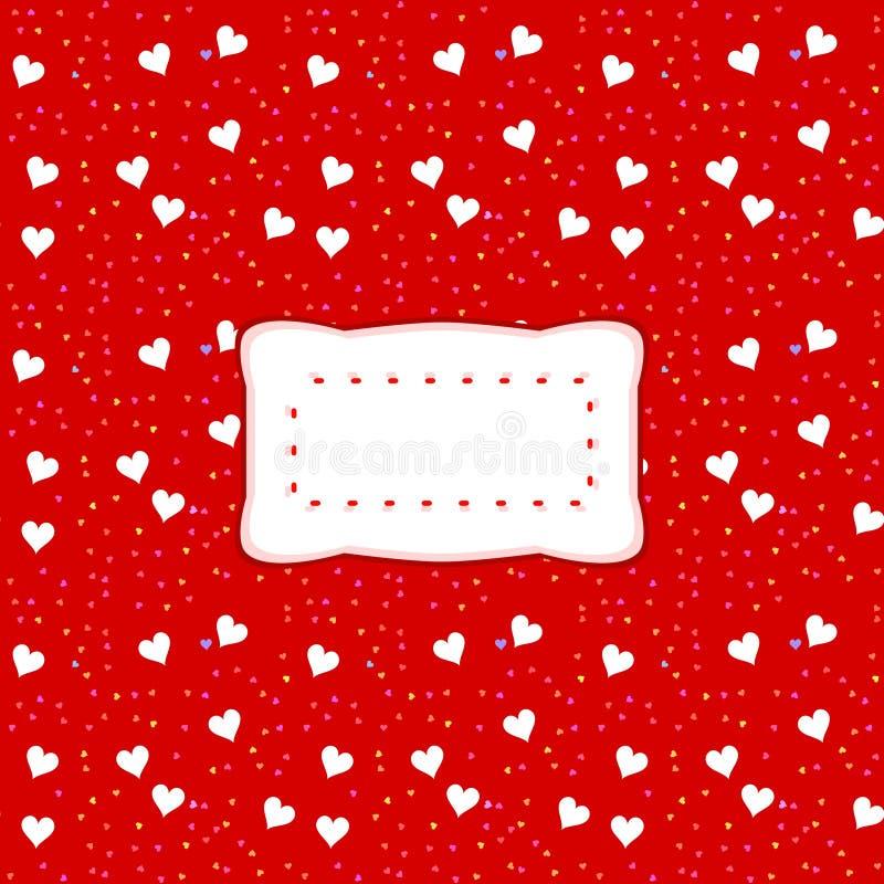 Etiqueta clara decorativa no fundo vermelho com corações brancos ilustração royalty free