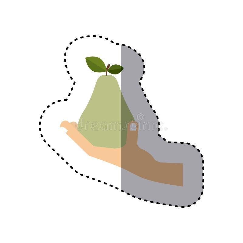 Etiqueta colorida da mão que guarda o fruto da pera ilustração do vetor