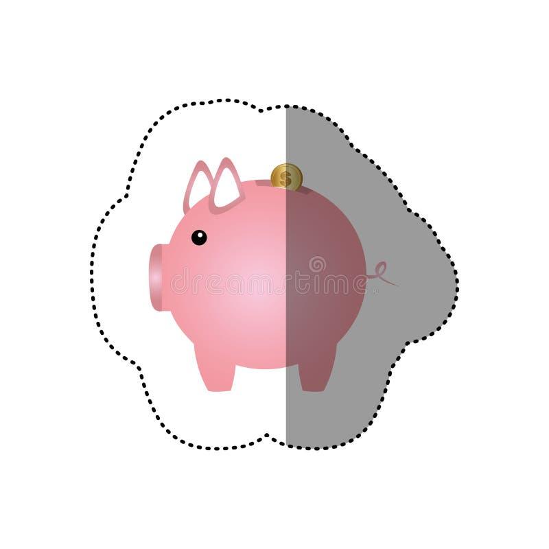 etiqueta colorida da silhueta da caixa de dinheiro na forma de leitão ilustração stock