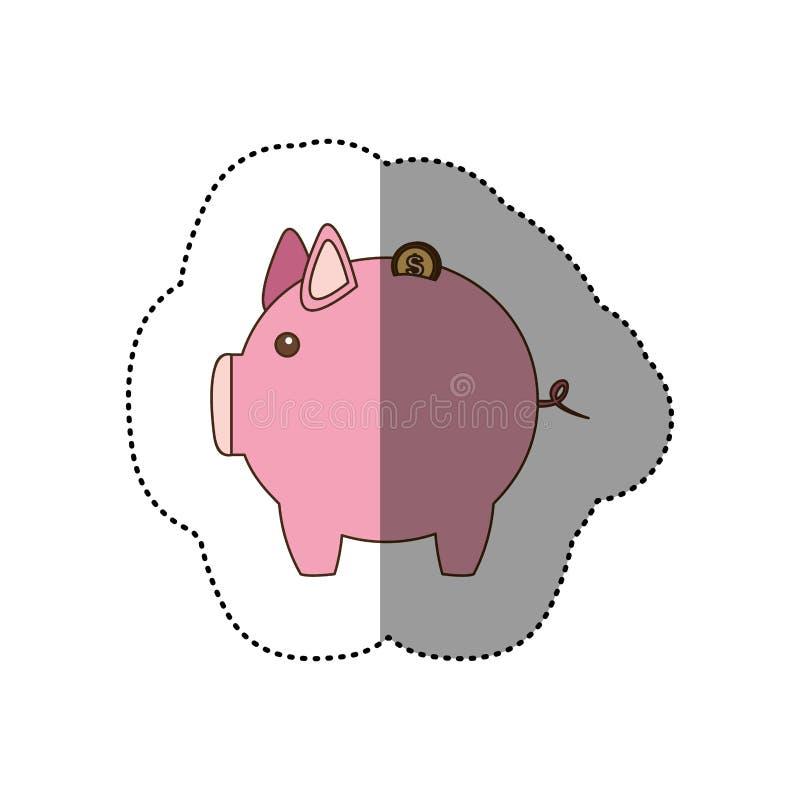 etiqueta colorida da silhueta do mealheiro cor-de-rosa ilustração stock
