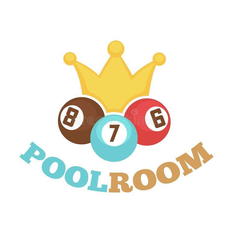 Etiqueta colorida del logotipo de la sala de billar con las bolas y la corona amarilla stock de ilustración