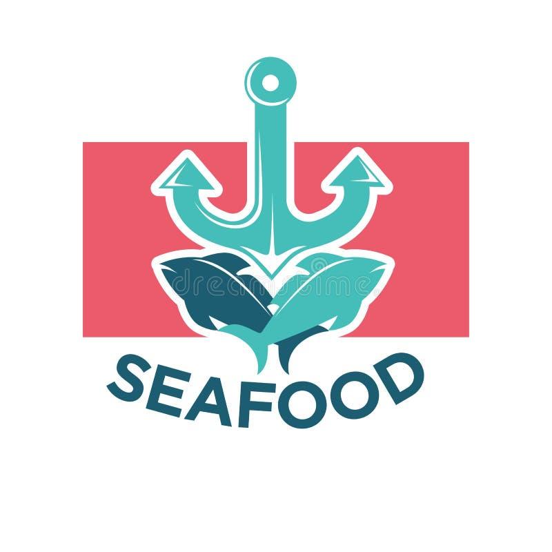 Etiqueta colorida del logotipo de los mariscos con el ancla y los pescados libre illustration