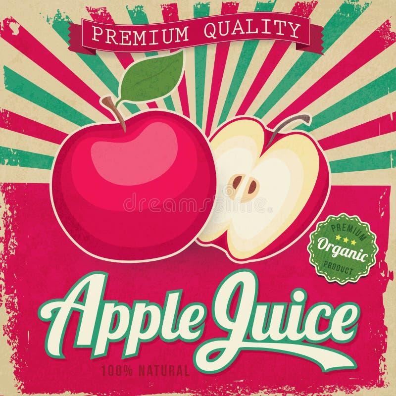 Etiqueta colorida do suco de maçã do vintage ilustração do vetor