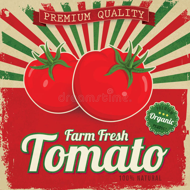 Etiqueta colorida do tomate do vintage fotografia de stock