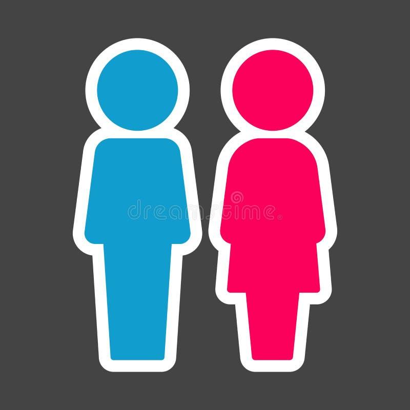 Etiqueta colorida vetor do toalete Homem e mulheres Ícone da placa em t ilustração stock