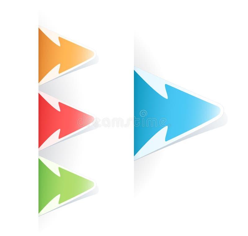 Etiqueta colorido da seta do Tag do vetor ilustração stock