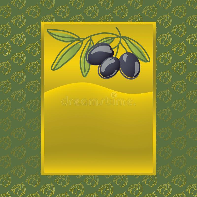 Etiqueta com azeitonas pretas ilustração do vetor