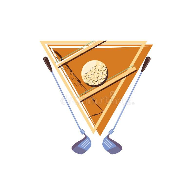 Etiqueta com golfe da bola e das varas ilustração stock