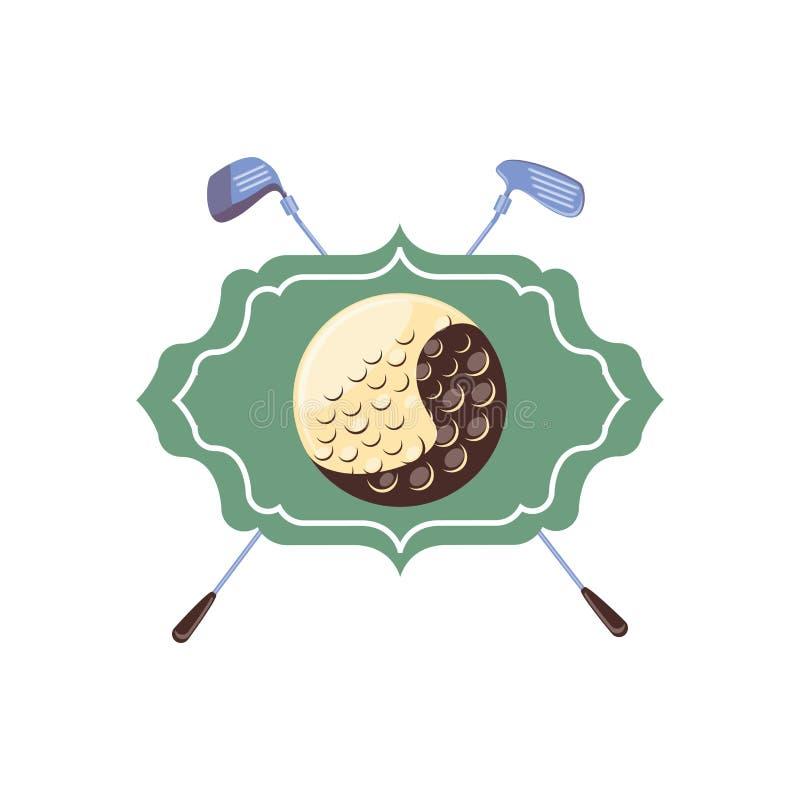 Etiqueta com golfe da bola e das varas ilustração do vetor