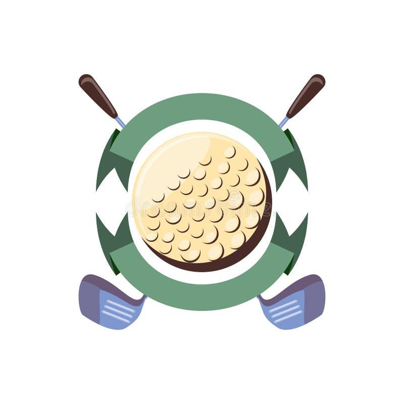 Etiqueta com golfe da bola e das varas ilustração royalty free