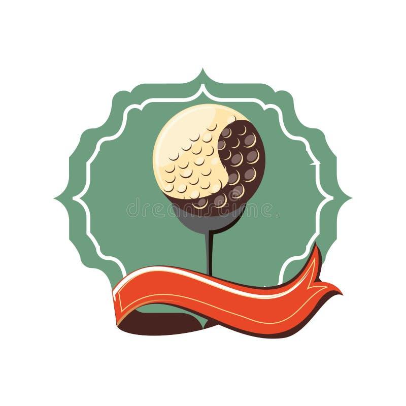 Etiqueta com golfe da fita e da bola ilustração royalty free