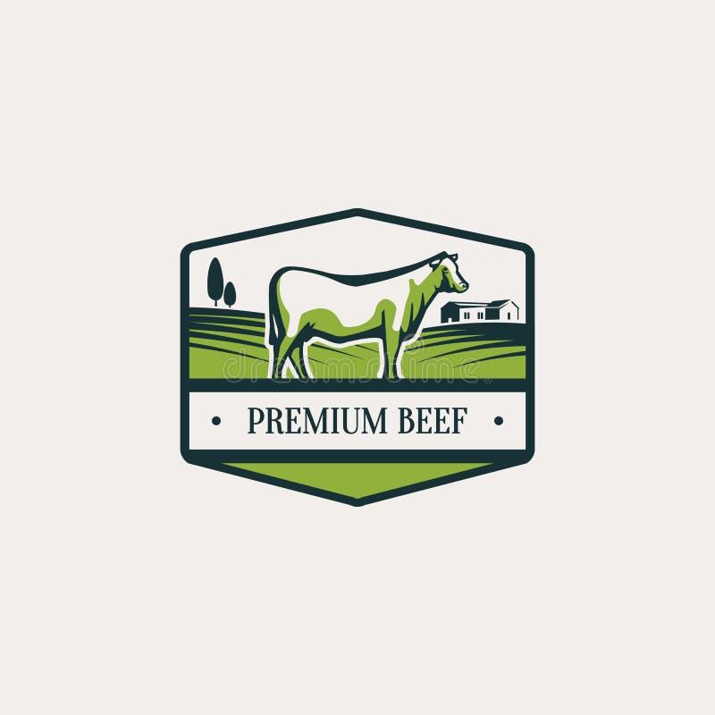Etiqueta com ilustração do gado imagem de stock