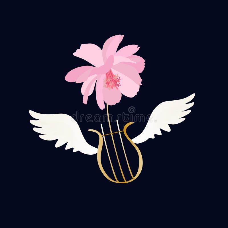 Etiqueta com lira voada e a flor cor-de-rosa do cosmos, isoladas no fundo preto no vetor ilustração stock