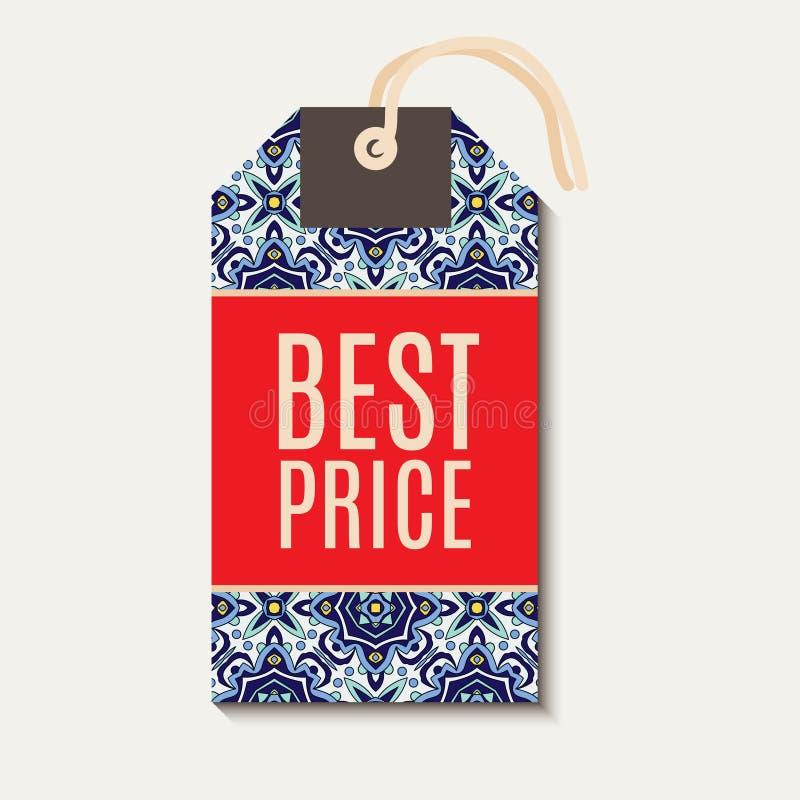 Etiqueta com os azulejos azuis portugueses do ornamento ilustração stock