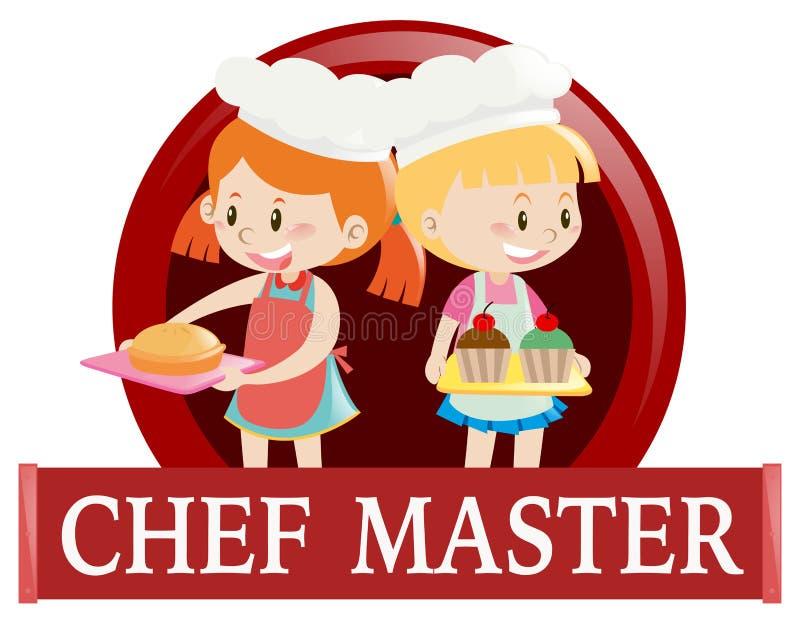 Etiqueta com os dois cozinheiros chefe júniors ilustração stock