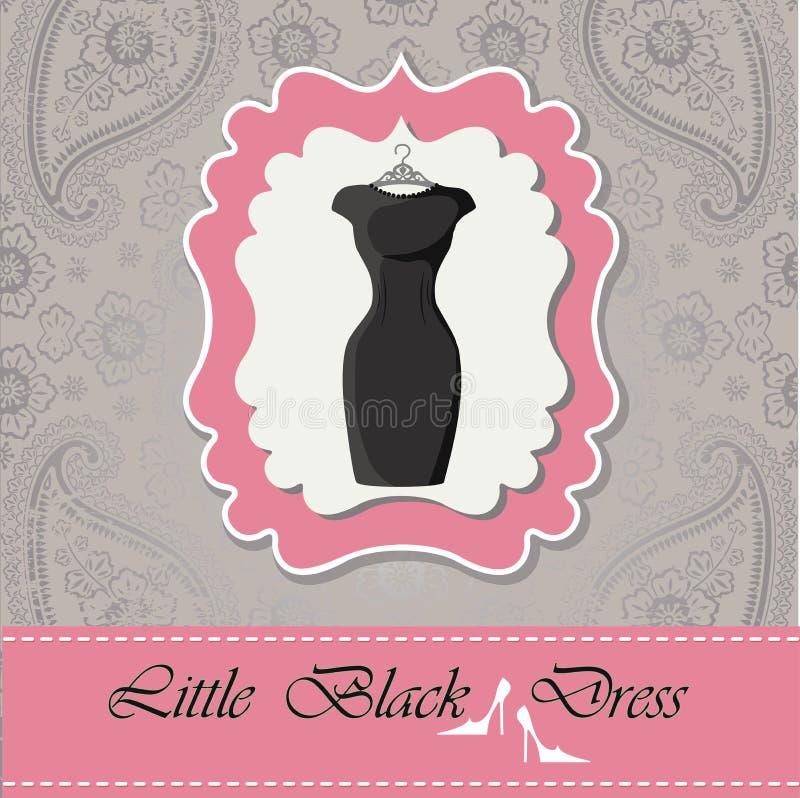 Etiqueta com pouco vestido preto Fundo do laço de Paisley ilustração royalty free
