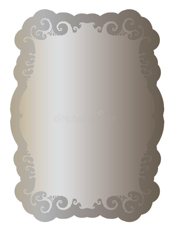Etiqueta com prata velha do ornamento limpo elegante ilustração do vetor