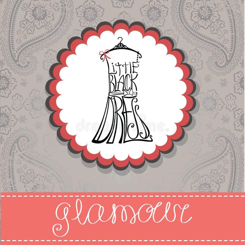 Etiqueta com a silhueta do vestido da mulher das palavras ilustração royalty free