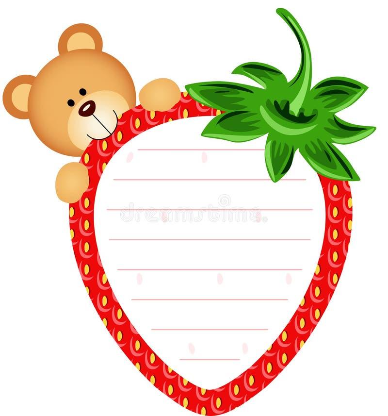 Etiqueta com Teddy Bear Eating Strawberry ilustração royalty free