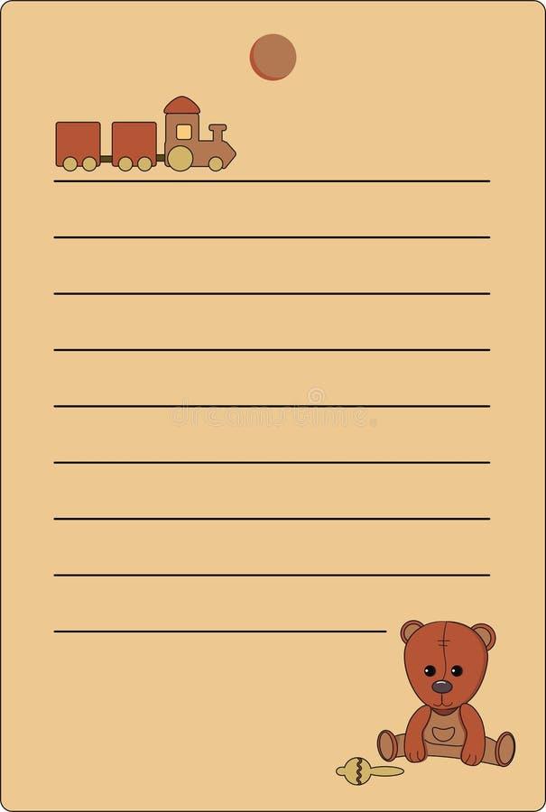 Etiqueta com um urso de peluche e um trem de cores marrons naturais ilustração stock