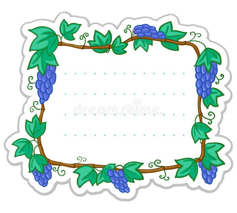 Etiqueta com uva ilustração do vetor