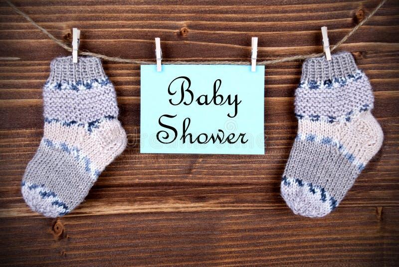 Etiqueta con la fiesta de bienvenida al bebé fotografía de archivo libre de regalías