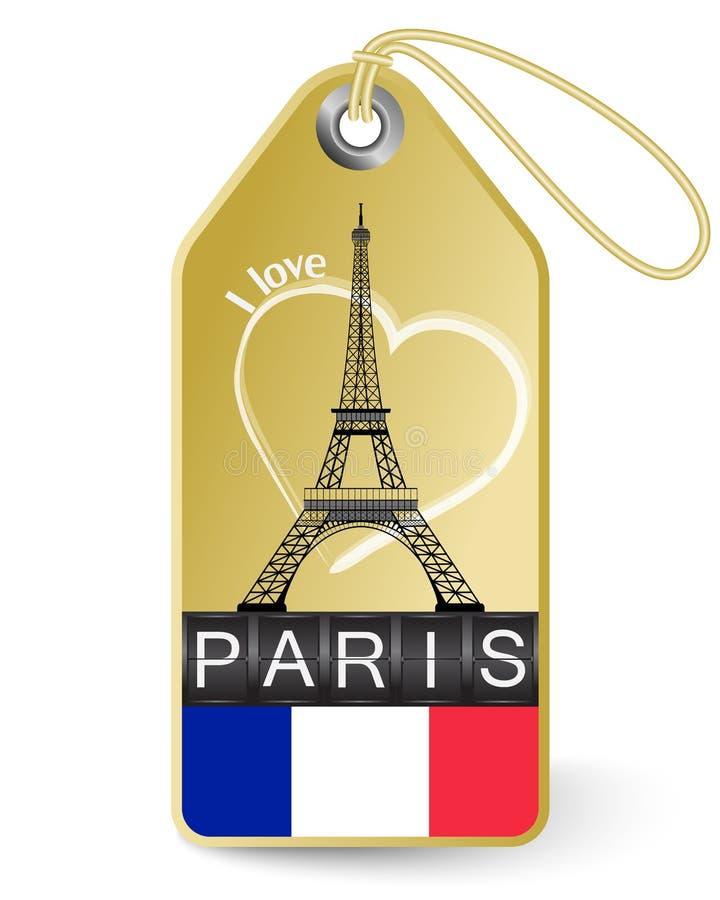 Etiqueta con la torre Eiffel ilustración del vector